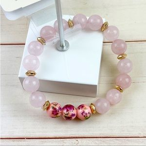 🆕 Floral Painted Stone Bead Stretch Bracelet